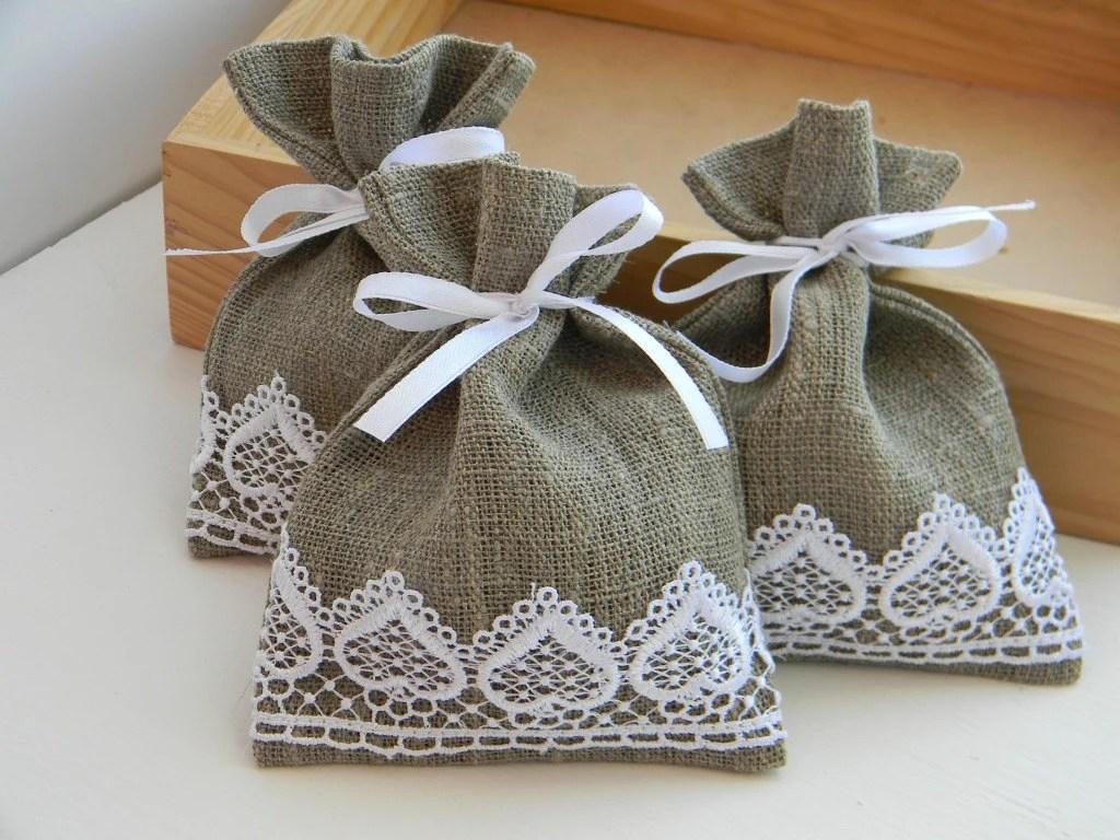 Wedding Favors Wedding Favor Bags Burlap Linen White Lace