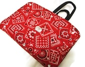 Bible Cover Red Bandana and Light Denim - bagsbyhags45