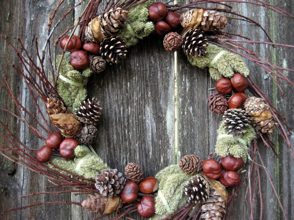Natural Wreath - Twiggy Green Symphony - with Chestnuts, Evergreen Cones, Cherry Branches & Millet