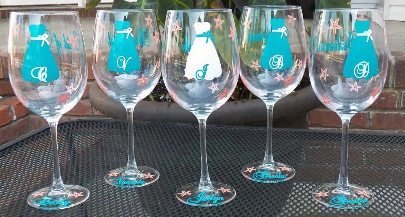 Bridesmaid Gift Beach Themed Wedding Wine Glass Great