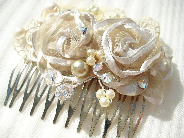 Items Similar To Bridal Hair Comb Cream Bridal Clip