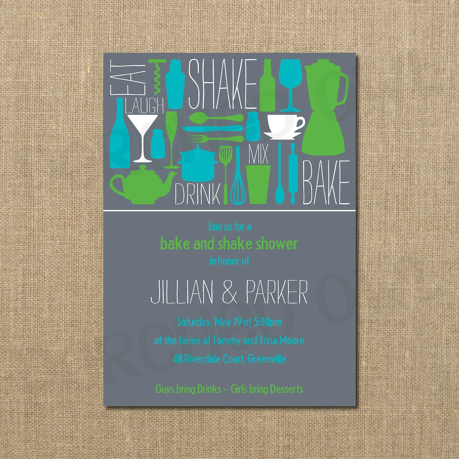 Bake and Shake Couples Wedding Shower Invitation