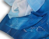 Hand painted silk scarf with flowers frozen in shades of blue. Azure, Sapphire, Light Blue, Cobalt Blue. - SilkAgathe
