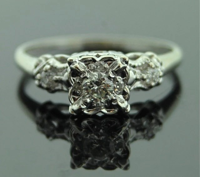 Vintage Engagement Ring 1950s White Gold And Diamond Ring