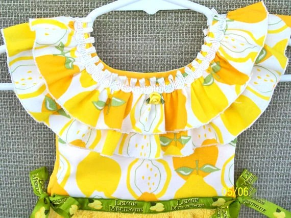 Lemon Hanging Kitchen Towel, Yellow Hand Towel, or Bath Towel - WoopsaDaisies