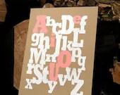 SALE  Alphabet Nursery Art Baby Girl The Alphabet Mix' 8x10 print - holdfastprintworks