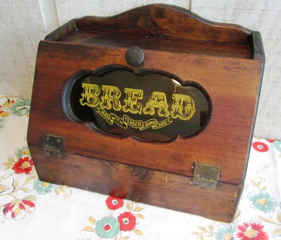 RESERVED MRS SMITH Vintage Wooden Bread Box Reads Bread Made