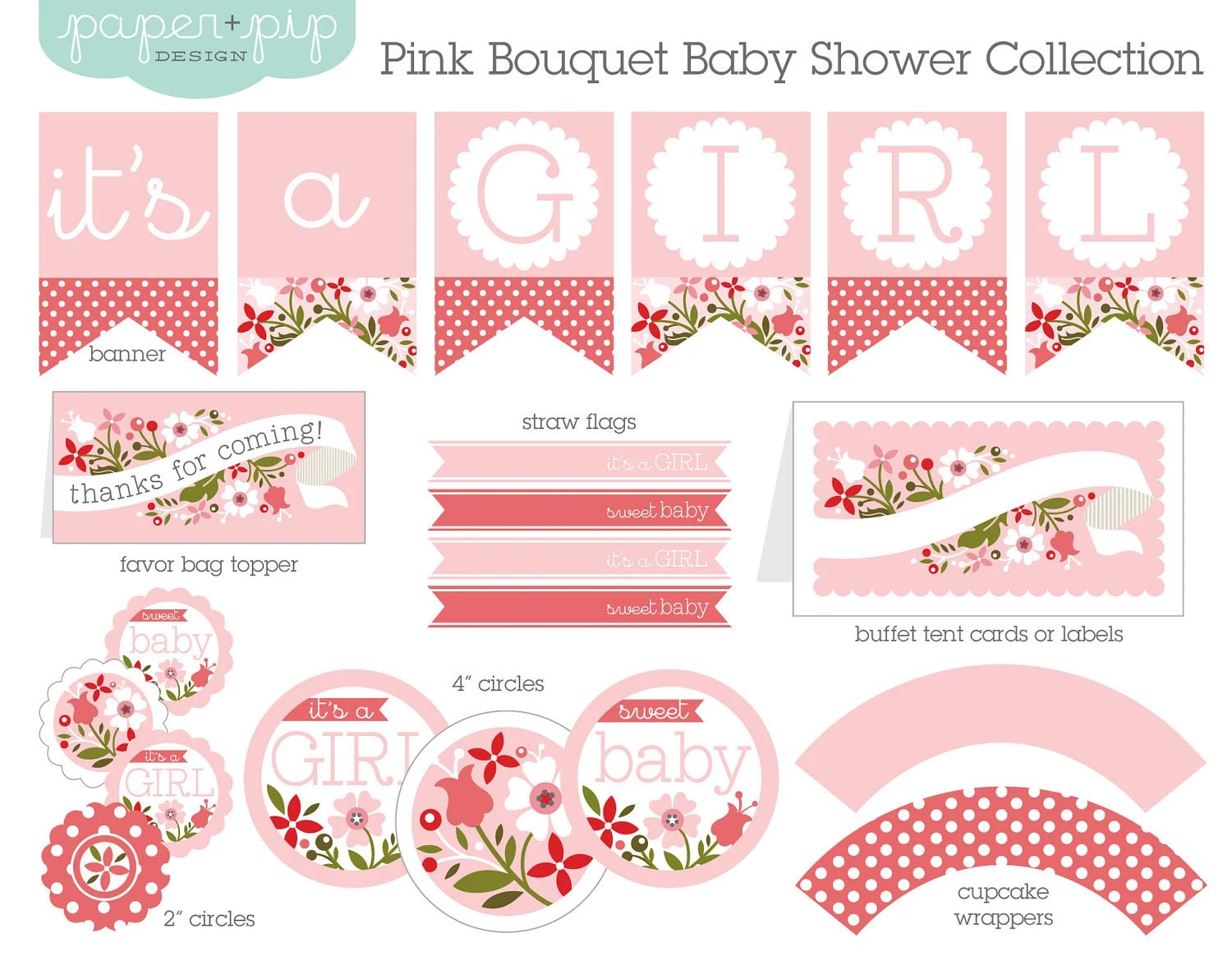 Baby Shower Decorations Printable Pink Bouquet