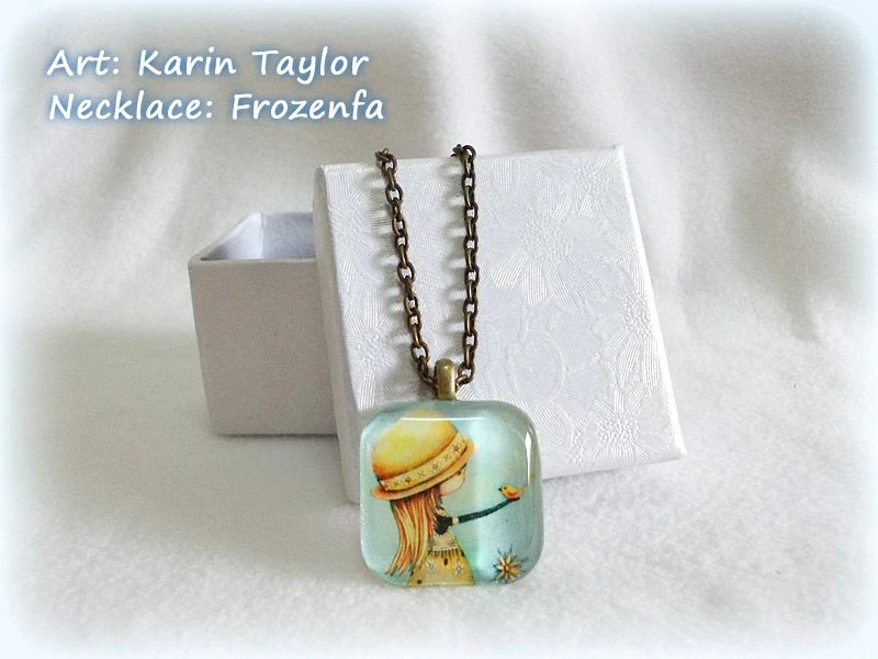 Summer Days Are Golden - Square Glass Tile Necklace