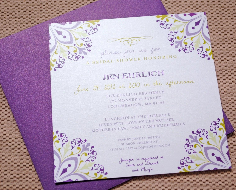 Purple Bridal Shower Invitations Purple By JadenwillowPaperCo