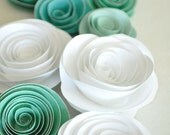 Paper Flowers Teal and White Paper Flowers Wedding Table Decorations 25 flowers - lillesyster