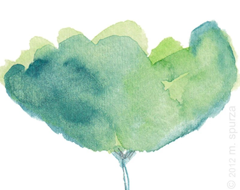 Delicate Aqua Blue Tulip Watercolor Painting 8x10  Print Contemporary Painting Garden Blue and Green - OutsideInArtStudio