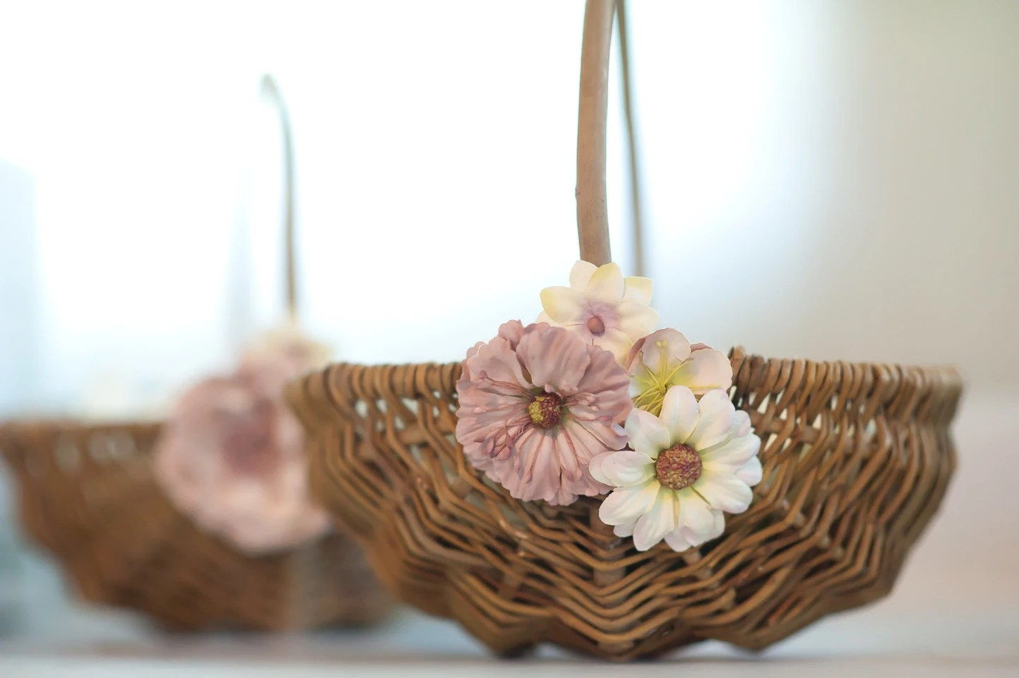 Rustic Flower Girl Basket For Wedding: Pale Pink By