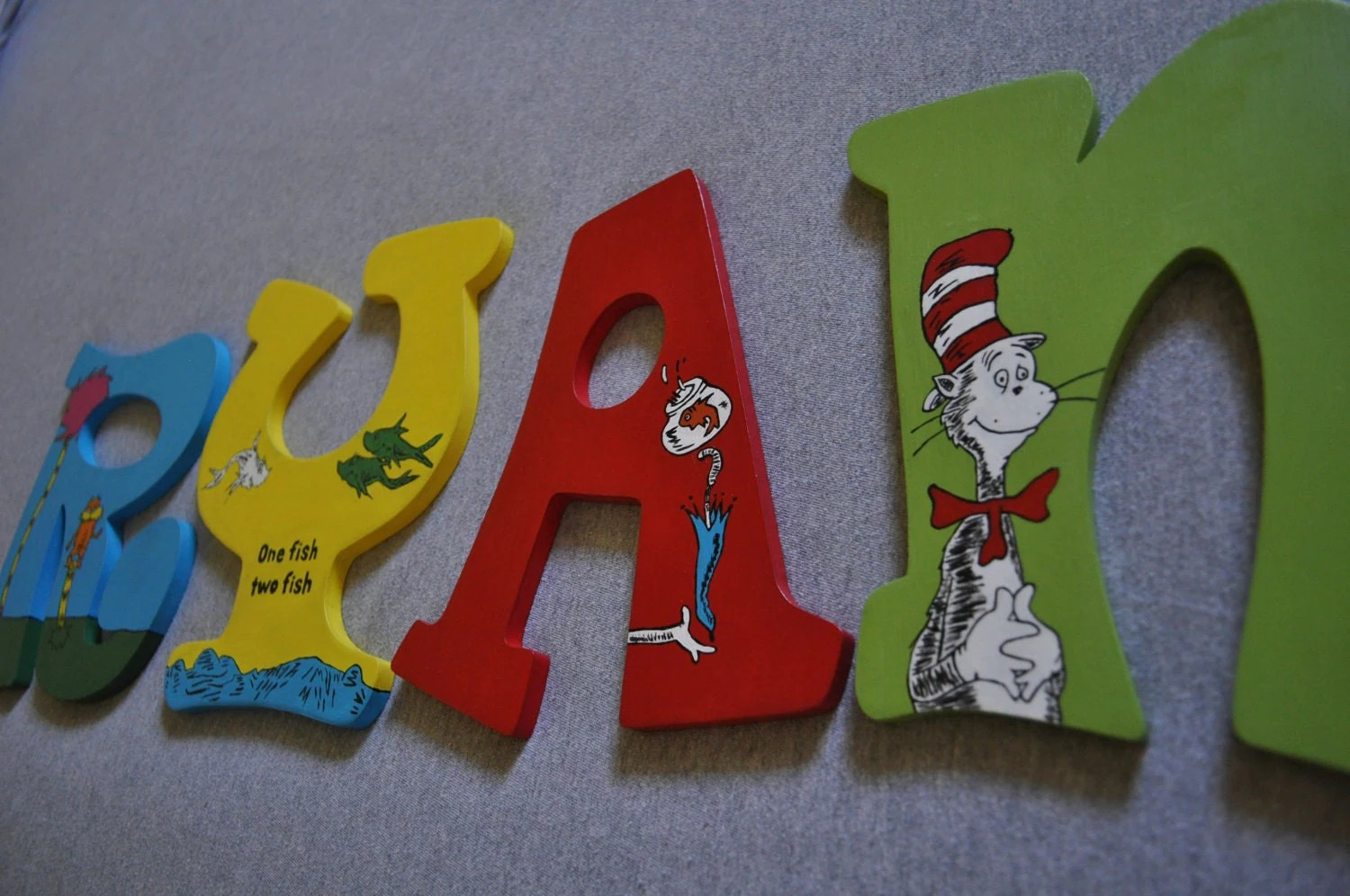 Dr Seuss Hand Painted Wooden Letters For Nursery Or Play Room