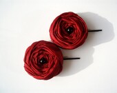 Dark Red Roses Hair Bridal Bobby Pins Set of 2 - BizimWedding
