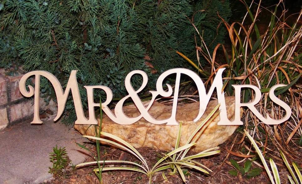 Mr & Mrs Connected Wooden Monogram Script Letters