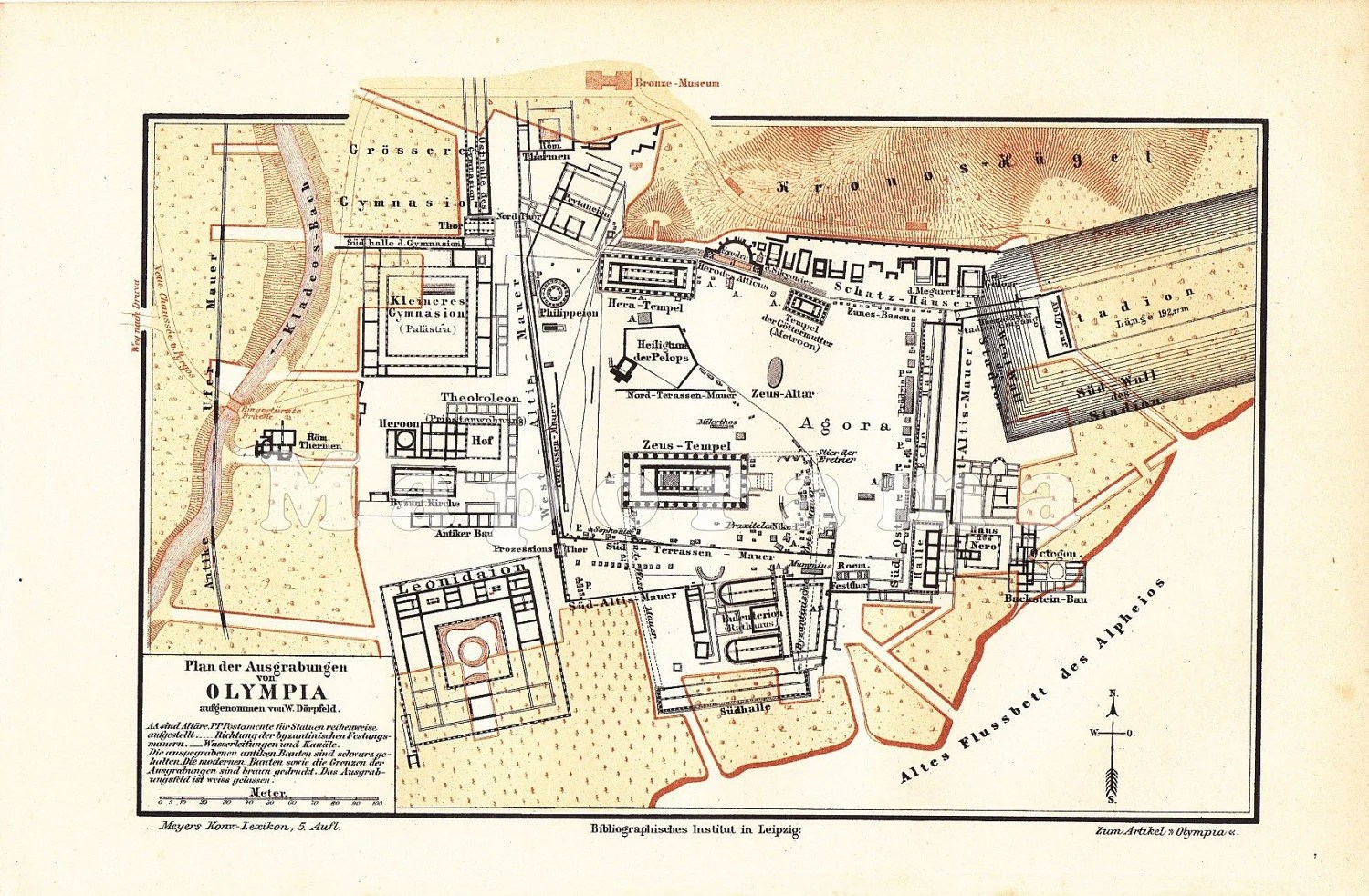 Ancient Olympia Greece Antique Map Printed In