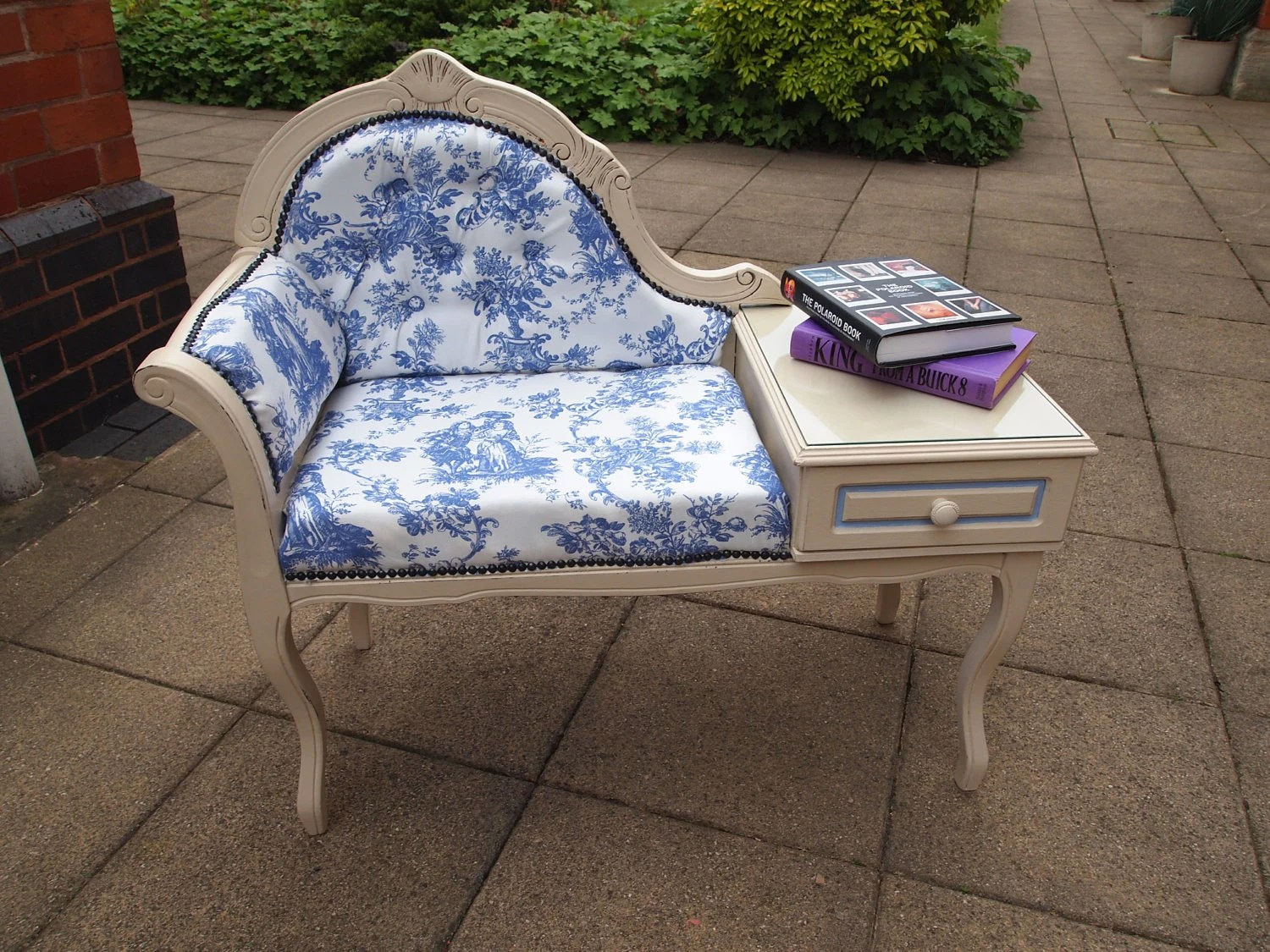 SOLD Upcycled Telephone Table Seat - Annie Sloan Chalk Paint and Vintage Fabric