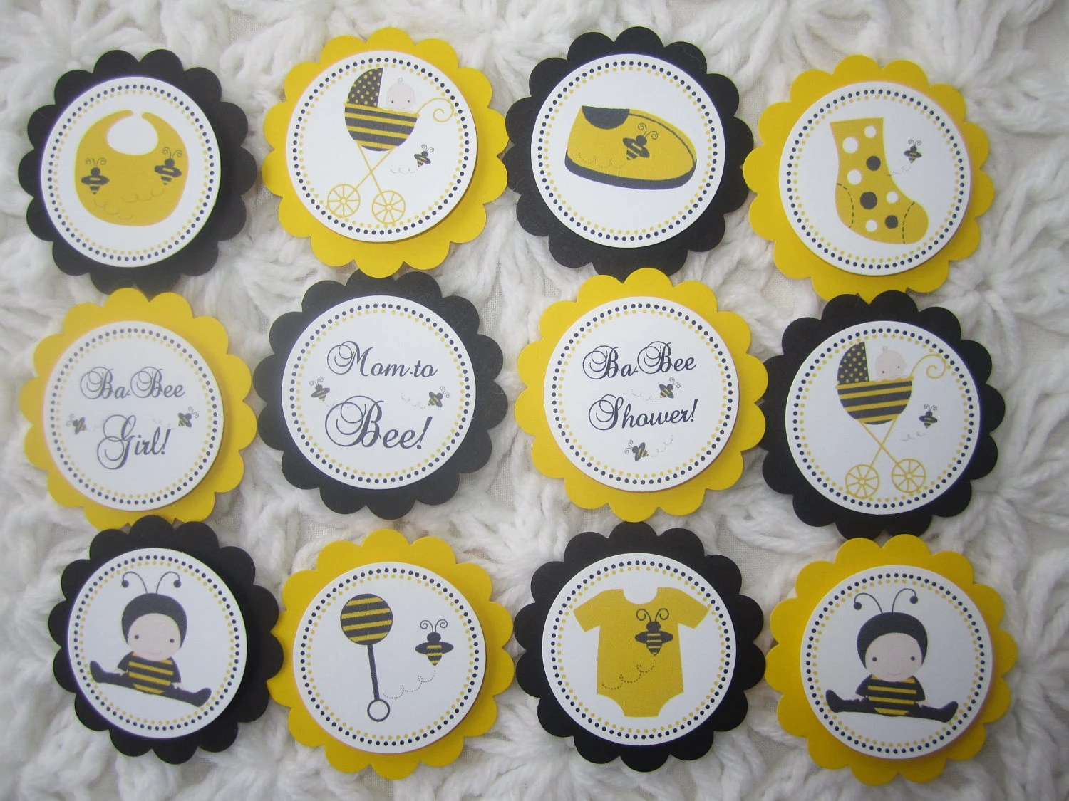 Bee Toppers Baby Shower Cupcake Toppers Party Tags Ba Bee