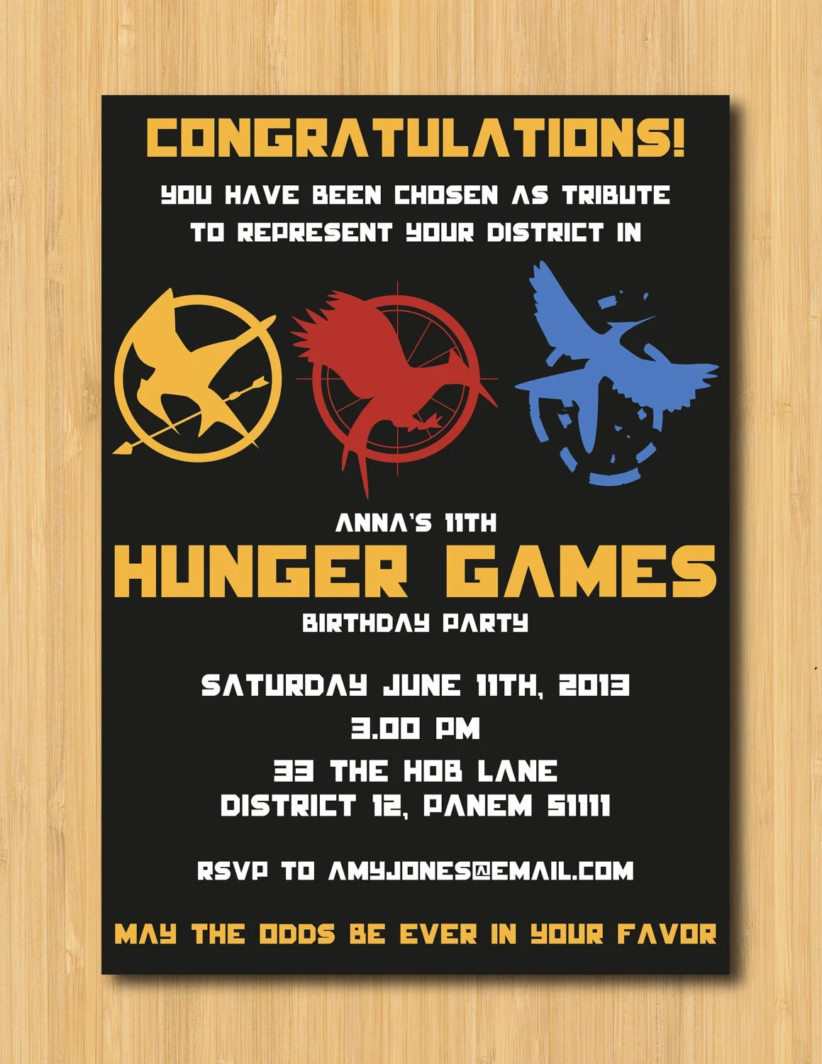 Hunger Games Printable Birthday Party Invitation