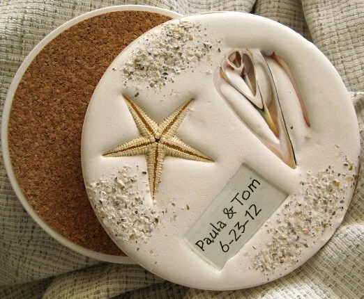 Nautical Wedding Coasters 4 PERSONALIZED....Real Shells In