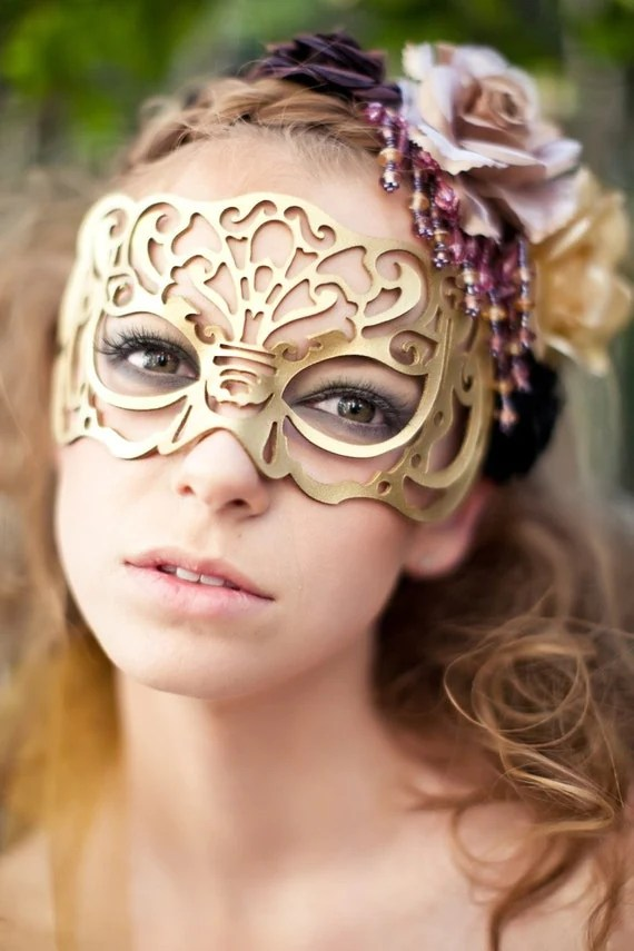 Victoriana mask in gold leather by TomBanwell