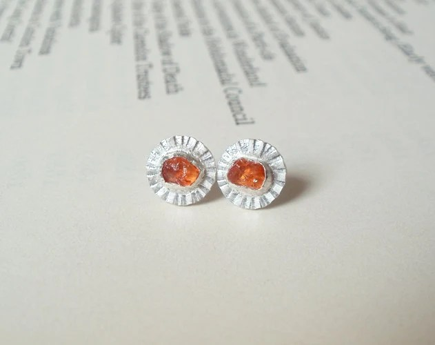 natural orange sapphire daisy earring studs in sterling silver and fine silver, candy color earring studs - huiyitan