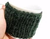 Mug Cozy, Tea Mug Cozy, Hand Made Mug Warmer, Knitted Coffee Cozy, Forest Green - StitchKnit