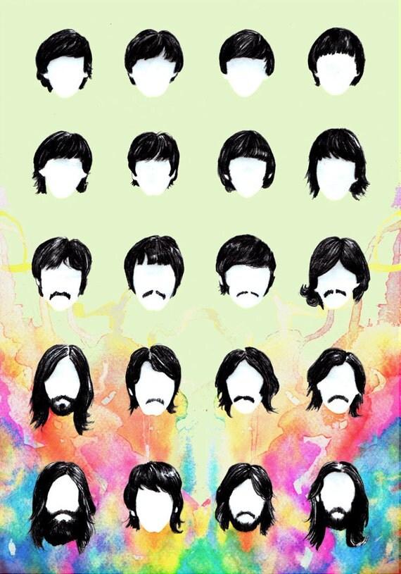 Items Similar To Hairography Beatles 9x12 Illustration
