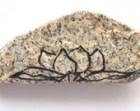 Zen Decor, Meditation Stone Painted Lotus Flower in Black Ink on Peach Granite, Nature Inspired, Yoga Stone