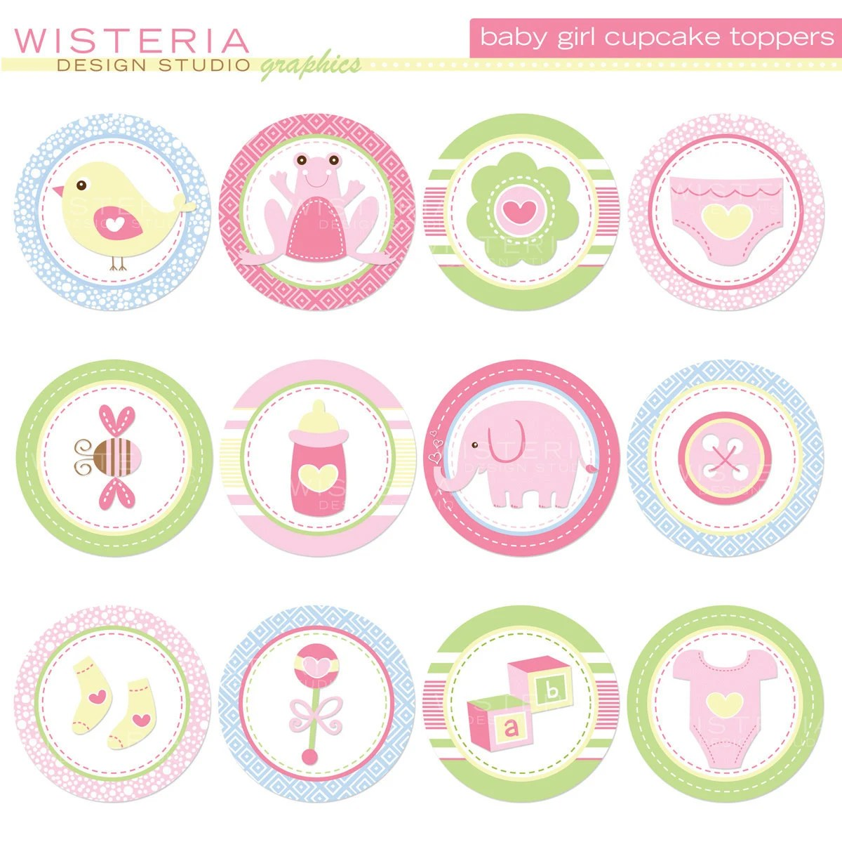 Baby Girl Cupcake Toppers Diy Printables By Wisteriadesignstudio
