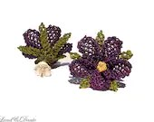 Unique lace earrings in violet, authentic and enchanted, silver studs eco flower earrings, eggplant plum purple amethyst, lace jewelry TAGT - LandofDante