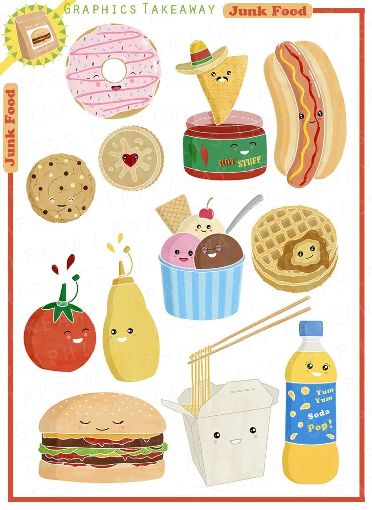 Junk Food Clipart/ Digital Collage by GraphicsTakeaway on Etsy (740 x 1014 Pixel)