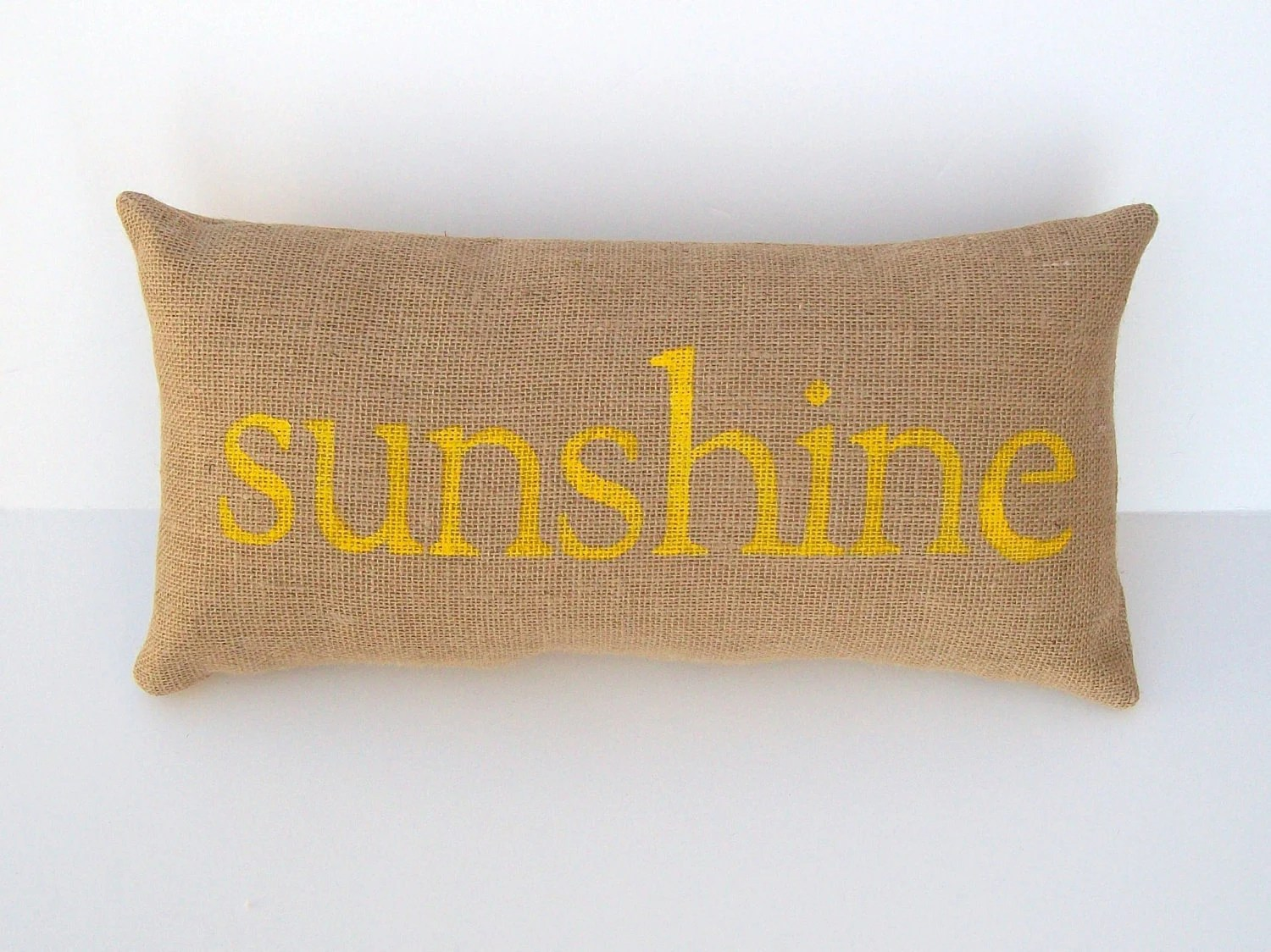 yellow pillow, burlap sunshine yellow pillow, sun, beach house decor, beach theme pillow, home decor, yellow nursery, mother's day gift