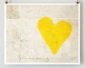 Paris Graffiti Heart, Paris Photography,  Yellow Art,  French Art Prints, Yellow Wall Art, Street Photography - TheParisPrintShop
