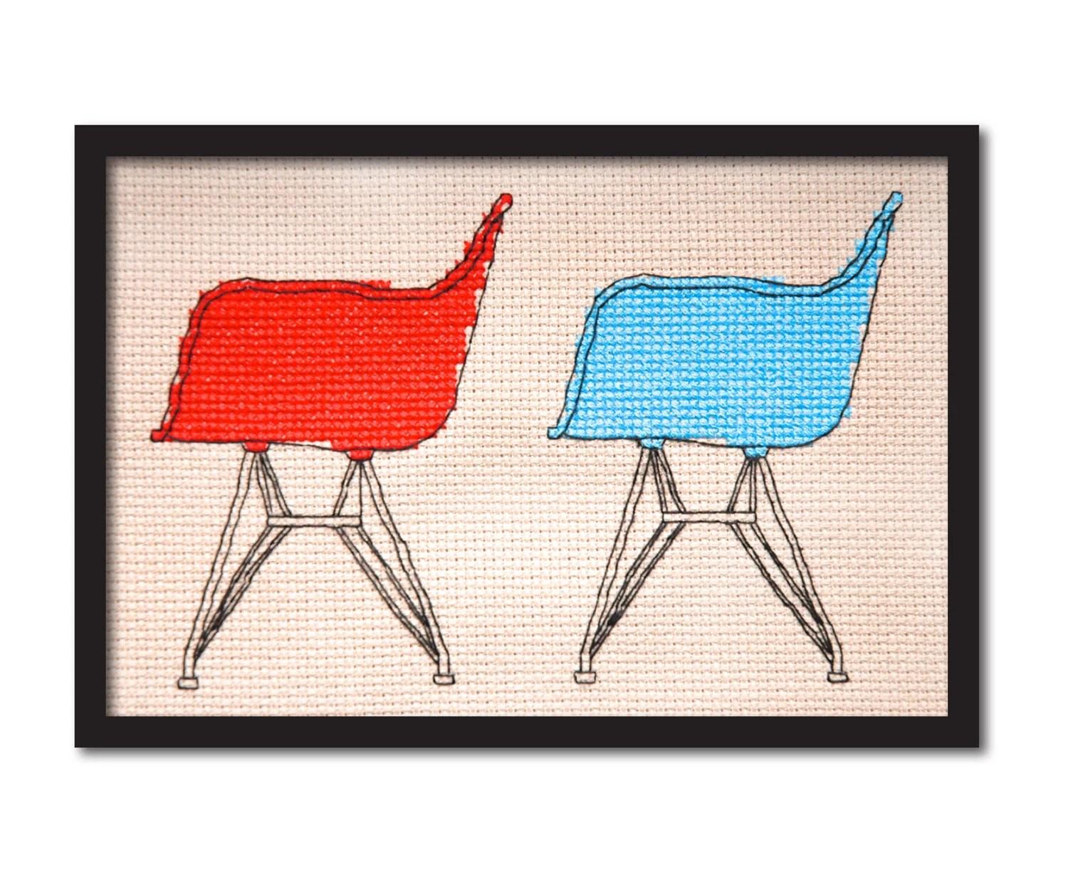 Eames Shell Chairs Cross Stitch Pattern Instant Download