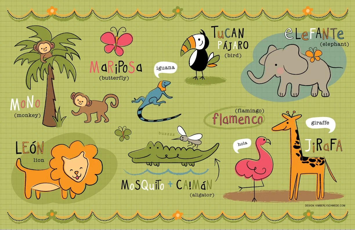 Kids Spanish Jungle Friends Placemat By Bebebilingual On Etsy