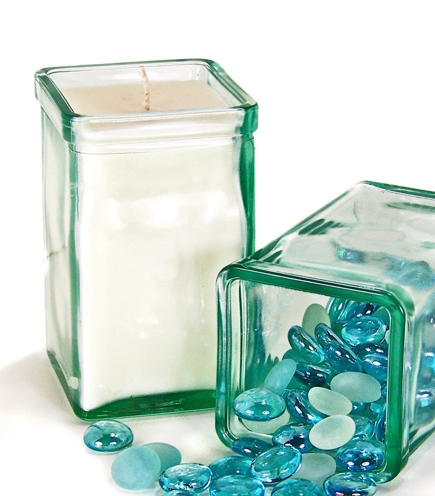 "Unique Modern Soy wax Candle - Almost 5"" Tall Recycled Glass Container Candle - GreenLeafCandles"