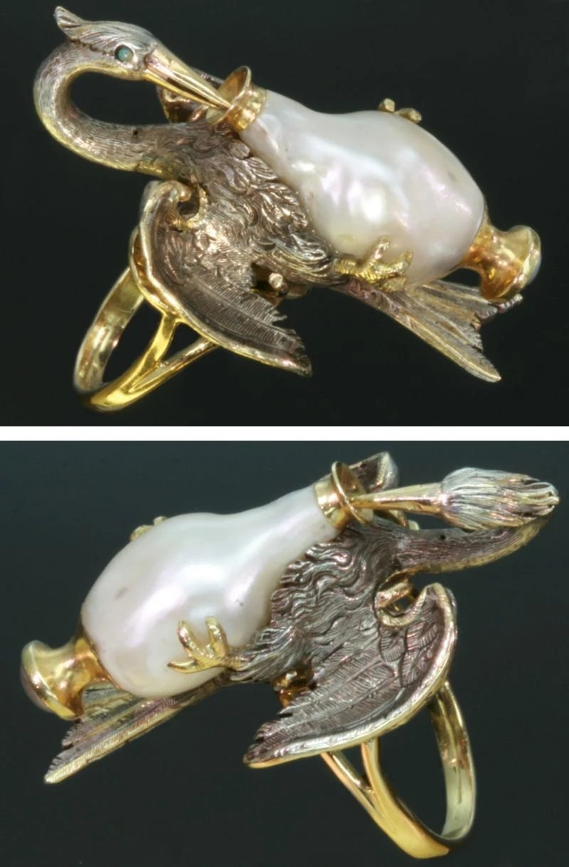 French Antique Ring, baroque pearl, stork Aesops fable, Victorian jewellery