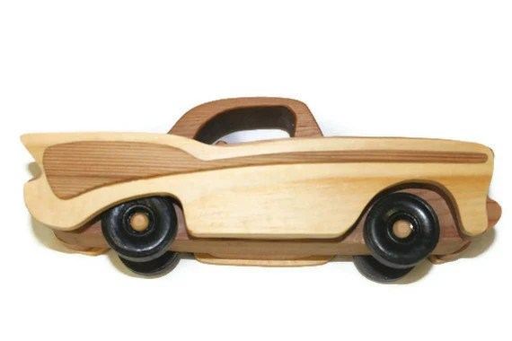 57 Chevy Wooden Toy Car Natural Finish