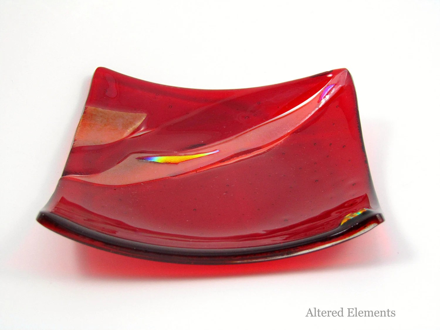 Fused Glass Dish - Crimson and Orange with Dichroic Accents - Mini Sushi Dish, Trinket Dish, Candle Dish, Ring Dish - AlteredElementsGlass