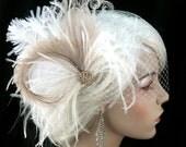 Rock On  - Bridal Feather Fascinator- Bridal Headpiece, Wedding Veil, Wedding Fascinator, Feather Fascinator, Gold-tone Rhinestone Center