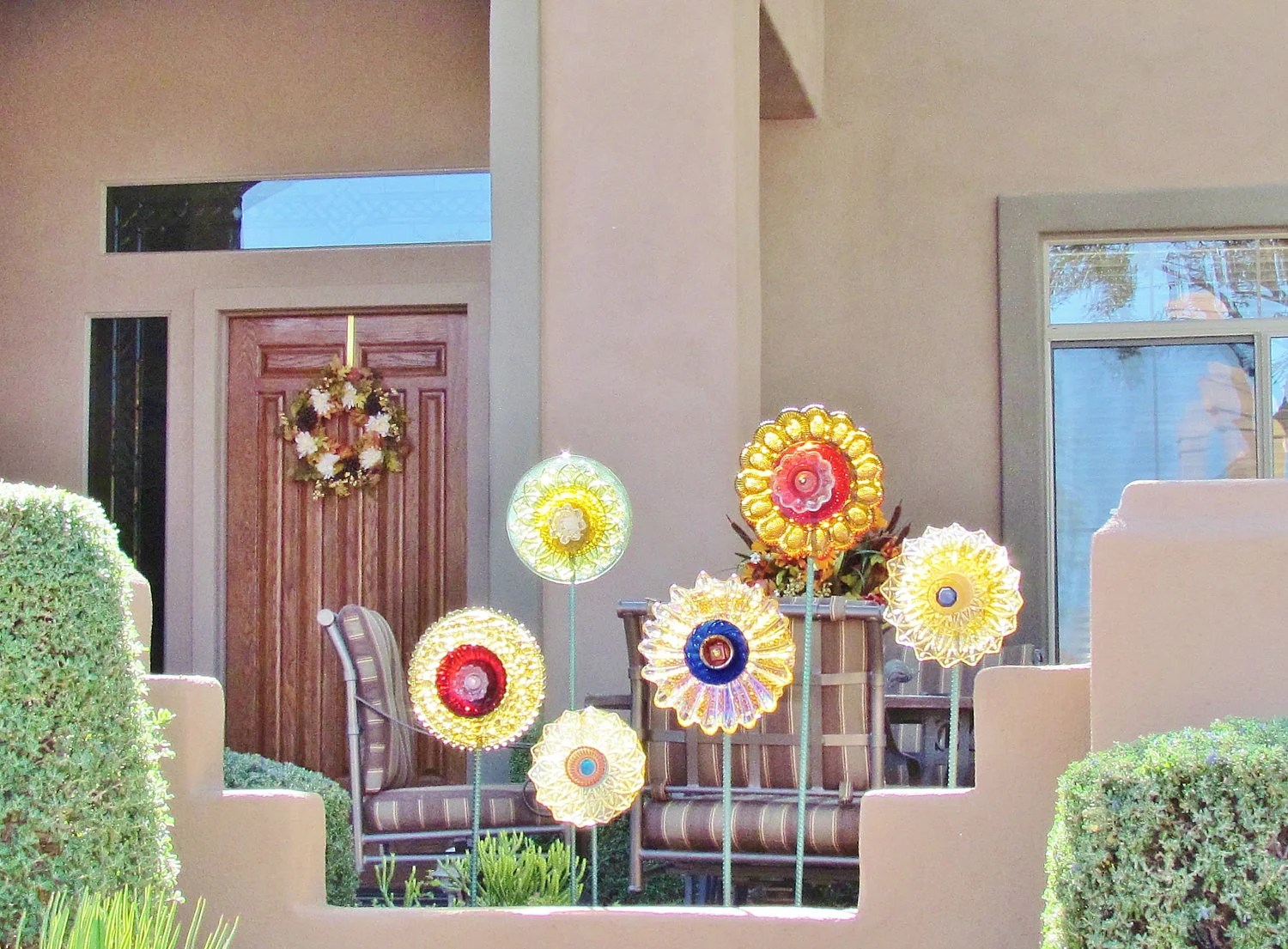 VENDA Jardim Art Decor vidro do vintage Flor Suncatcher Repurposed KATYA
