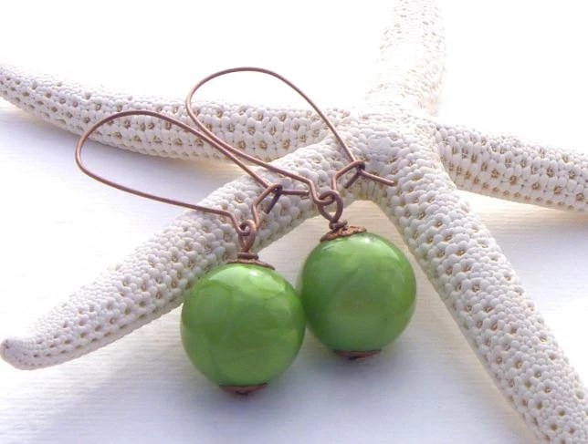 Green Earrings.  Vintage Beads. - TheBeadedCottage