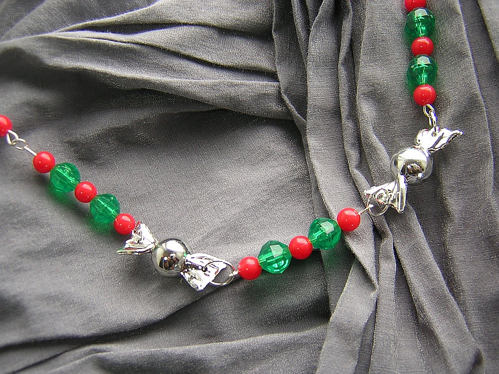 Red, Green, and Silver Christmas Candy Necklace - Handmade by Rewondered D225N-99252