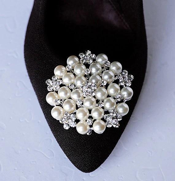 Bridal Shoe Clips Pearl Crystal Rhinestone Shoe Clips