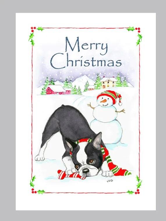 Boston Terrier Christmas Cards Box Of 16 Cards Amp Envelopes