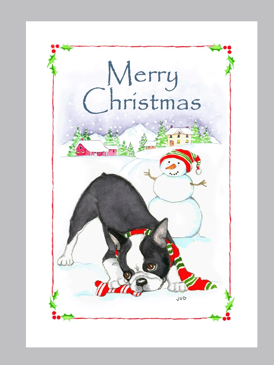 Boston Terrier Christmas Cards Box Of 16 Cards Amp Envelopes