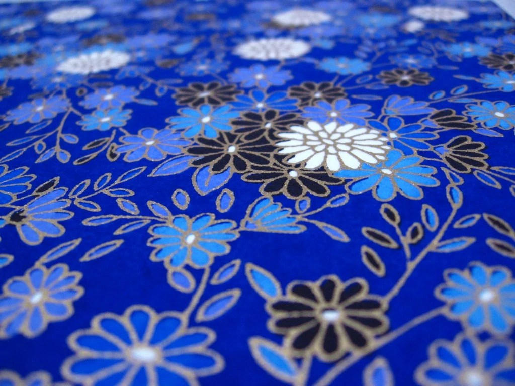 Washi Paper, Self Adhesive: White, Blue, Black Flowers on Cobalt Blue - chickydoddle
