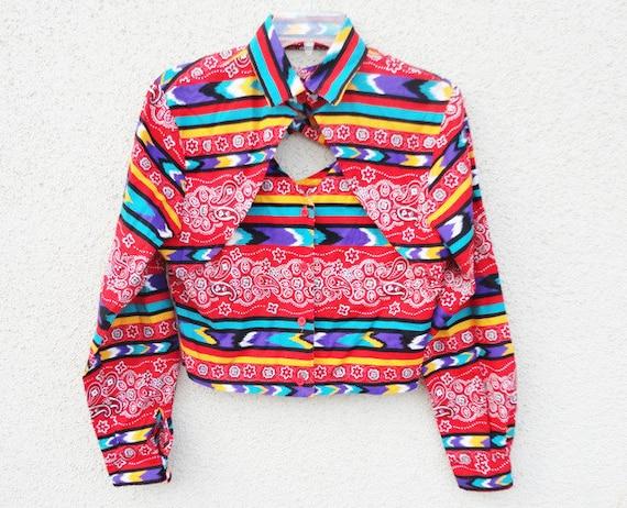 AMAZING Navajo, Western print fringe crop blouse